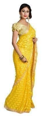 Yellow Phulkari Saree S6 2