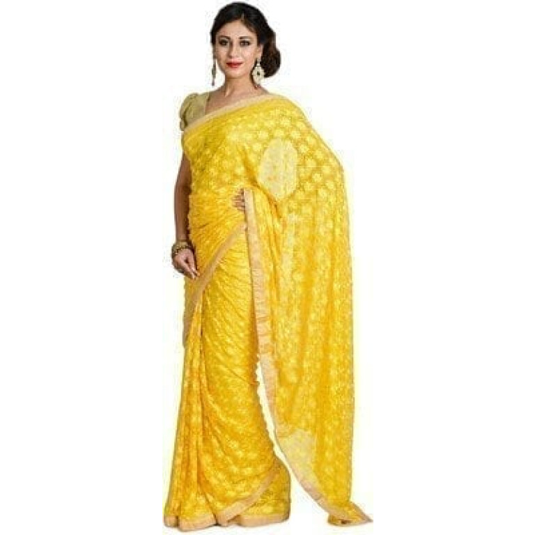 Yellow Phulkari Saree Self Embroidered party wear Faux Chiffon Saree S6