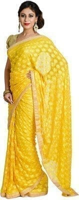 Yellow Phulkari Saree Self Embroidered party wear Faux Chiffon Saree S6 3