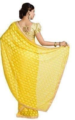 Yellow Phulkari Saree S6 4