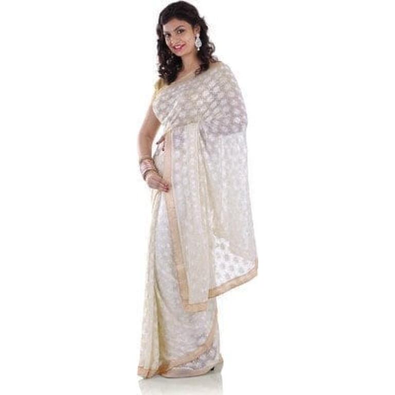 Phulkari Allover Self Embroidered party wear Faux Chiffon Saree S7