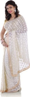 White Saree with Phulkari Embroidery Faux Chiffon Saari S7 2