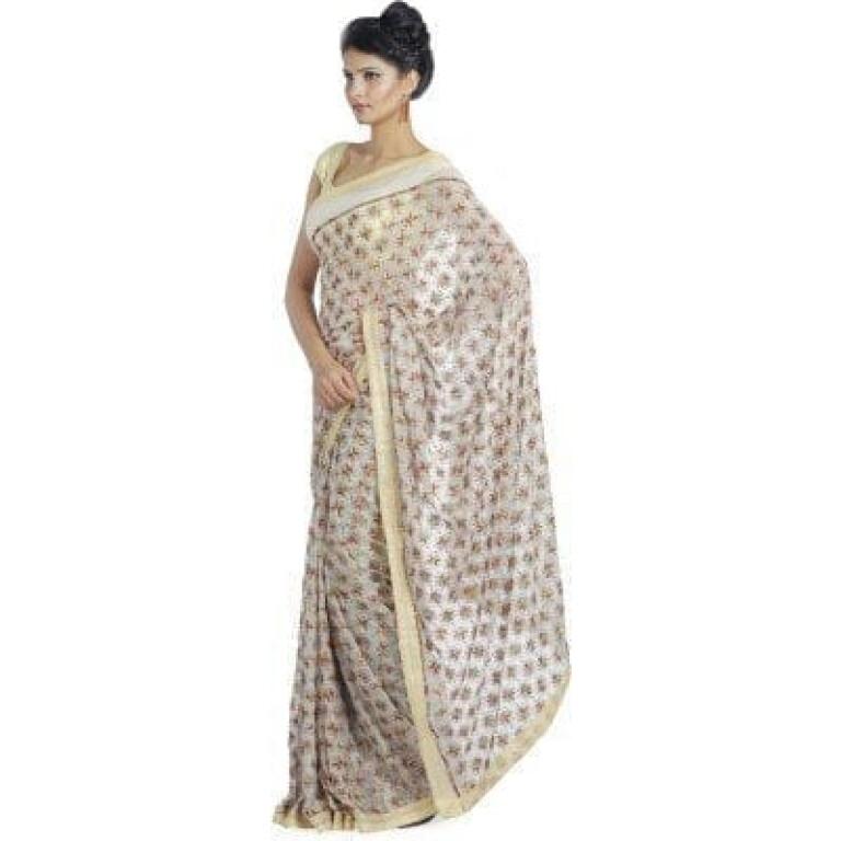 White Phulkari Saree Allover Embroidered party wear Faux Chiffon Saree S8
