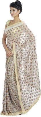 White Phulkari Saree Allover Embroidered party wear Faux Chiffon Saree S8 3