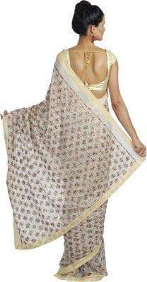 White Phulkari Saree Allover Embroidered party wear Faux Chiffon Saree S8 4