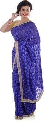Blue Phulkari Saree S9 2