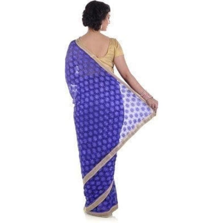 Blue Phulkari Saree Allover Self Embroidery party wear Faux Chiffon Sari S9