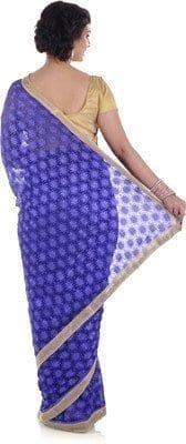 Blue Phulkari Saree Allover Self Embroidery party wear Faux Chiffon Sari S9 3