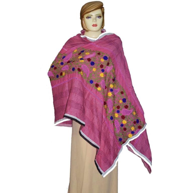 Designer Cotton Jali Hand Embroidered Partywear Dupatta D0761