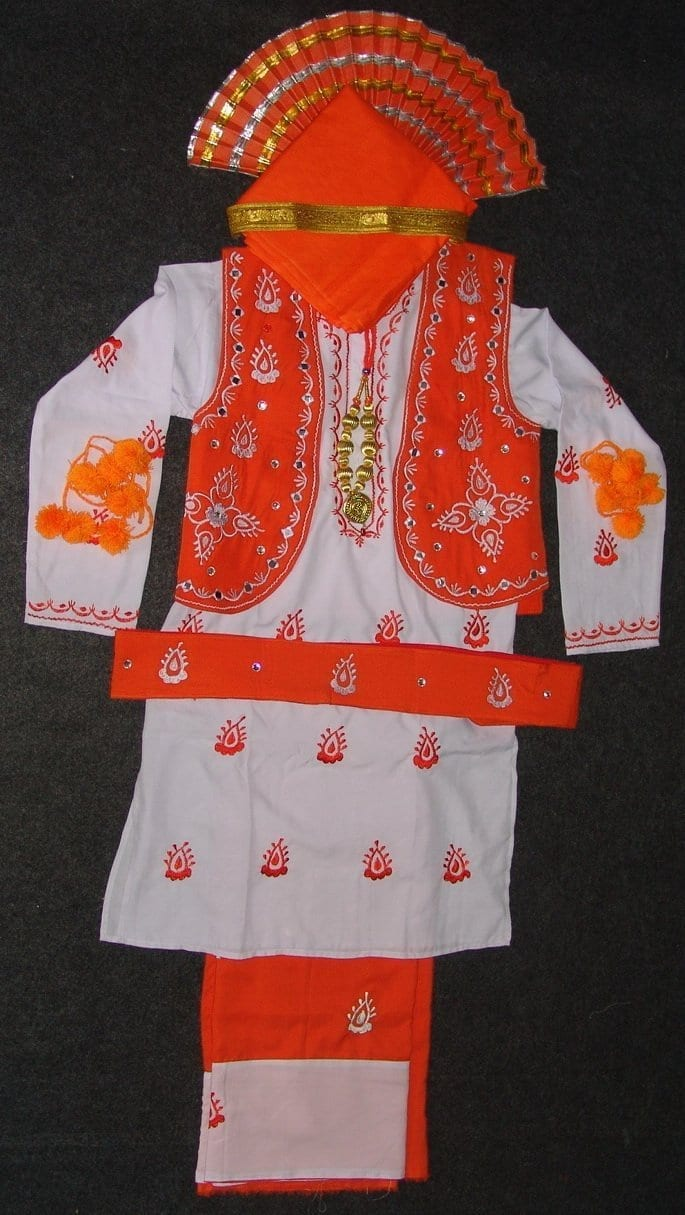 Orange White Bhangra dance Costume outfit dress- ready to wear