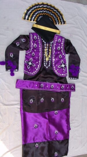 Purple Black Bhangra Dance Costume outfit dress- Custom Made