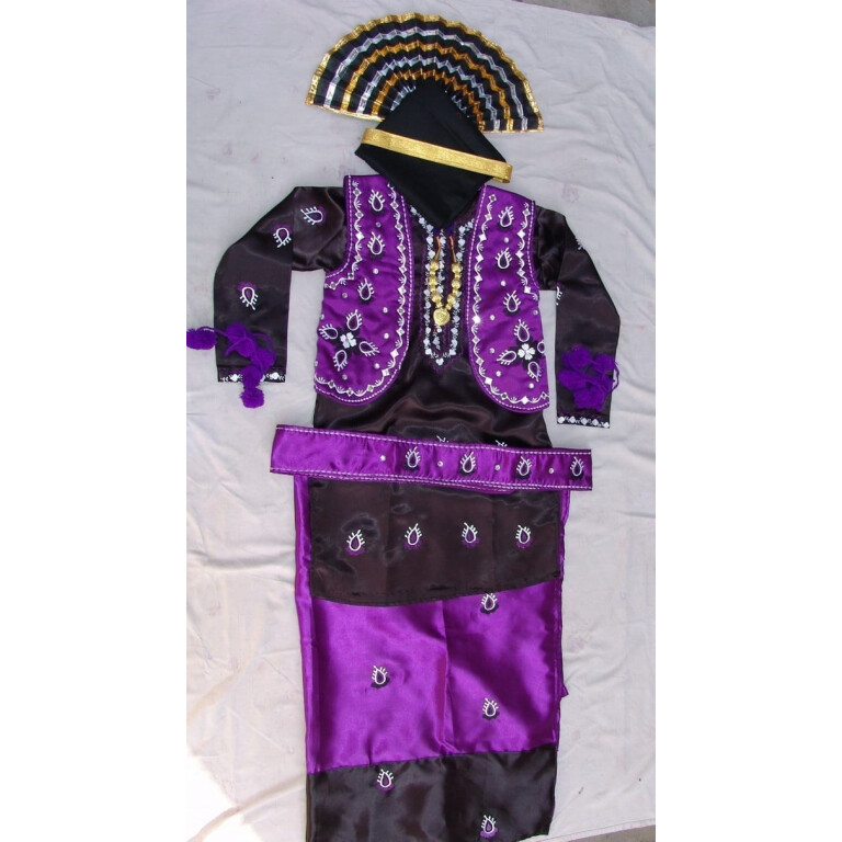 Purple Black Bhangra Dance Costume outfit dress- Custom Made