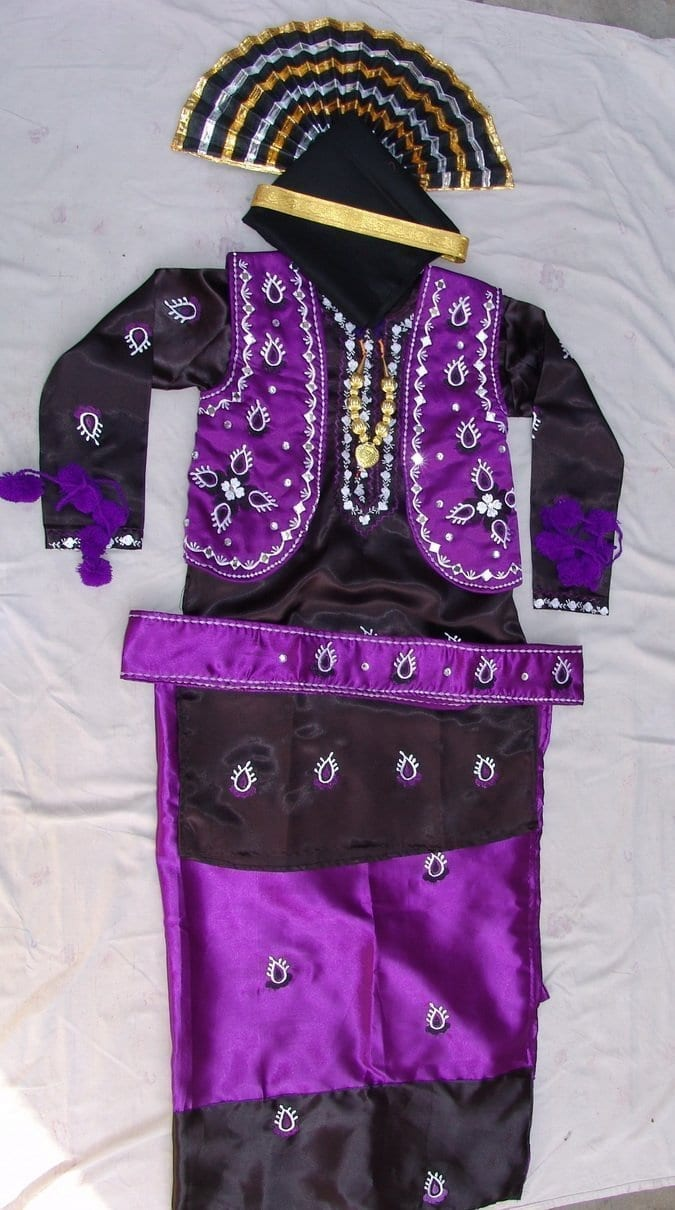 Purple Black Bhangra Dance Costume outfit dress- Custom Made 1