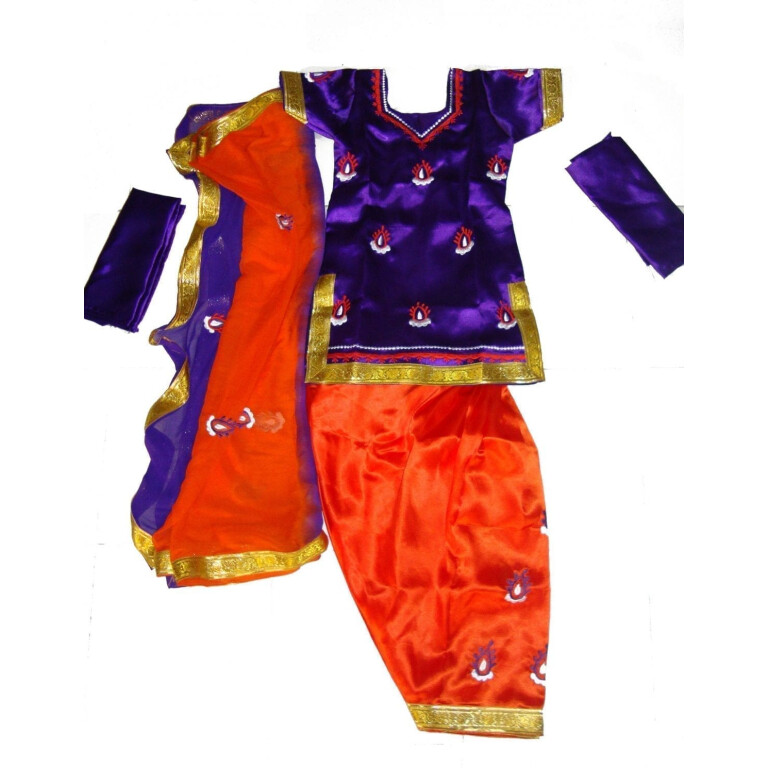 Purple Orange Girl's embroidered Bhangra Costume outfit dress