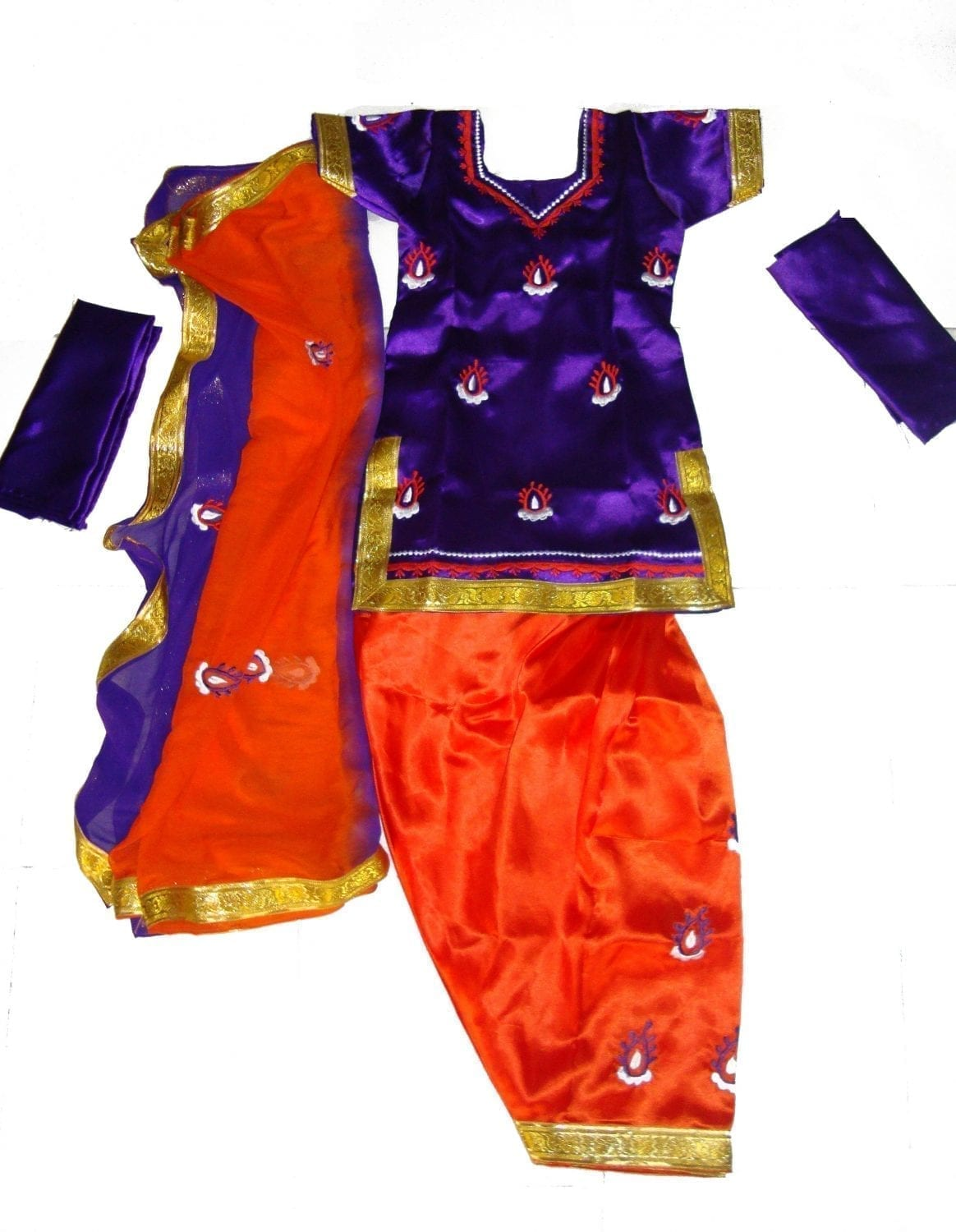 Purple Orange Girl's embroidered Bhangra Costume outfit dress 1