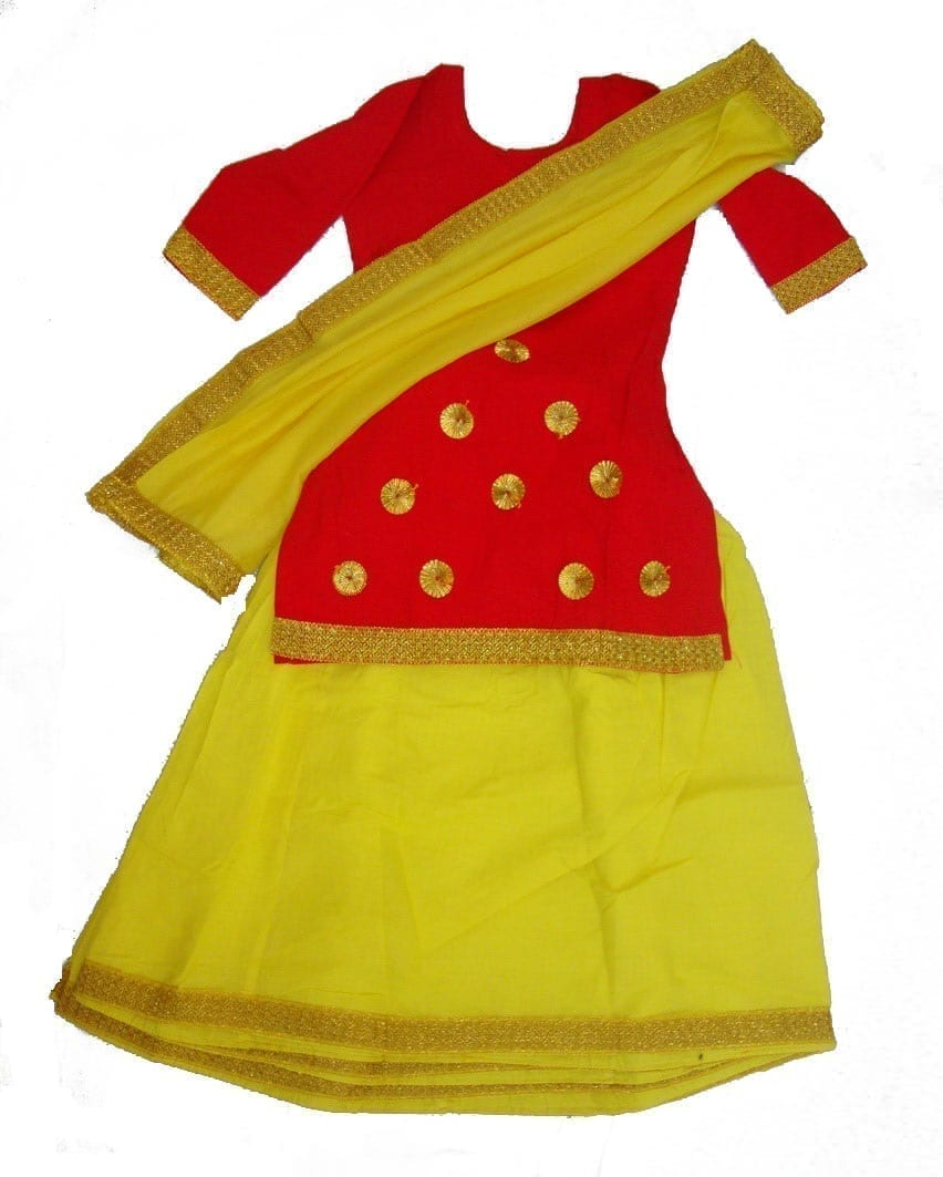 Red Yellow custom made GIDDHA  Costume outfit GHAGRA dress 1