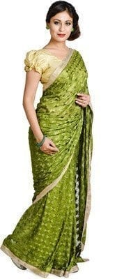 Mehendi Green Phulkari Saree Allover Embroidered Faux Chiffon Sari S15 2