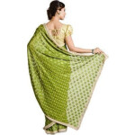 Mehendi Green Phulkari Saree Allover Embroidered Faux Chiffon Sari S15