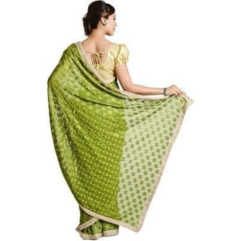 Mehendi Green Phulkari Allover Self Embroidered party wear Faux Chiffon Sari S15
