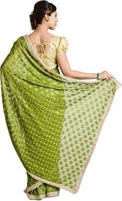 Mehendi Green Phulkari Saree Allover Embroidered Faux Chiffon Sari S15 4