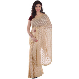 Fawn Phulkari Saree Embroidered Faux Chiffon Sari S10