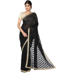Black Phulkari Saree Allover Embroidered Faux Chiffon Saari S11