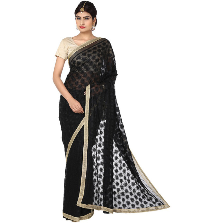 Black Phulkari Saree s11