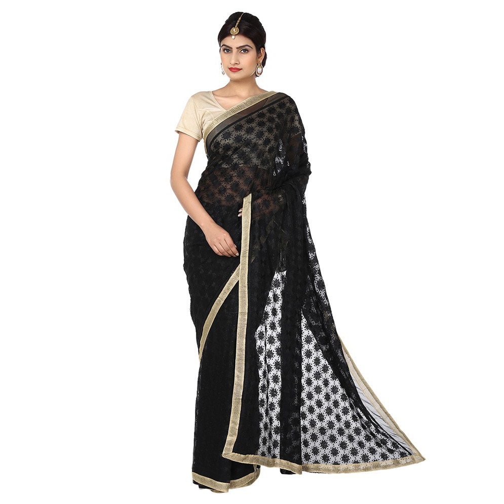 Black Phulkari Saree Allover Embroidered Faux Chiffon Saari S11 1