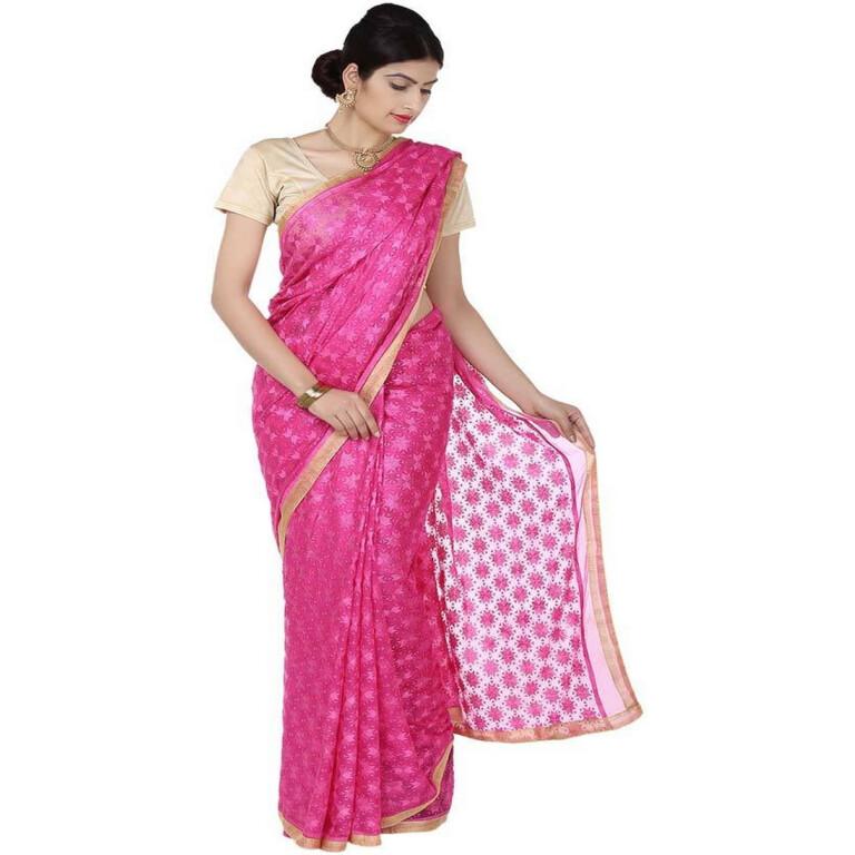 magenta phulkari Saree S12