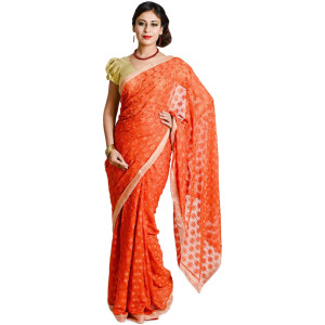 Orange Phulkari Saree S13