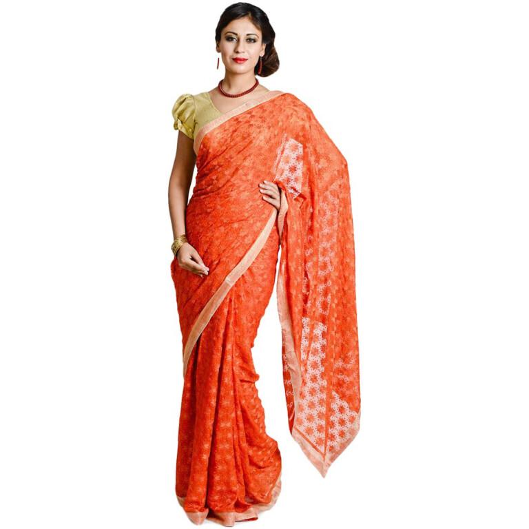 Orange Phulkari Saree S13