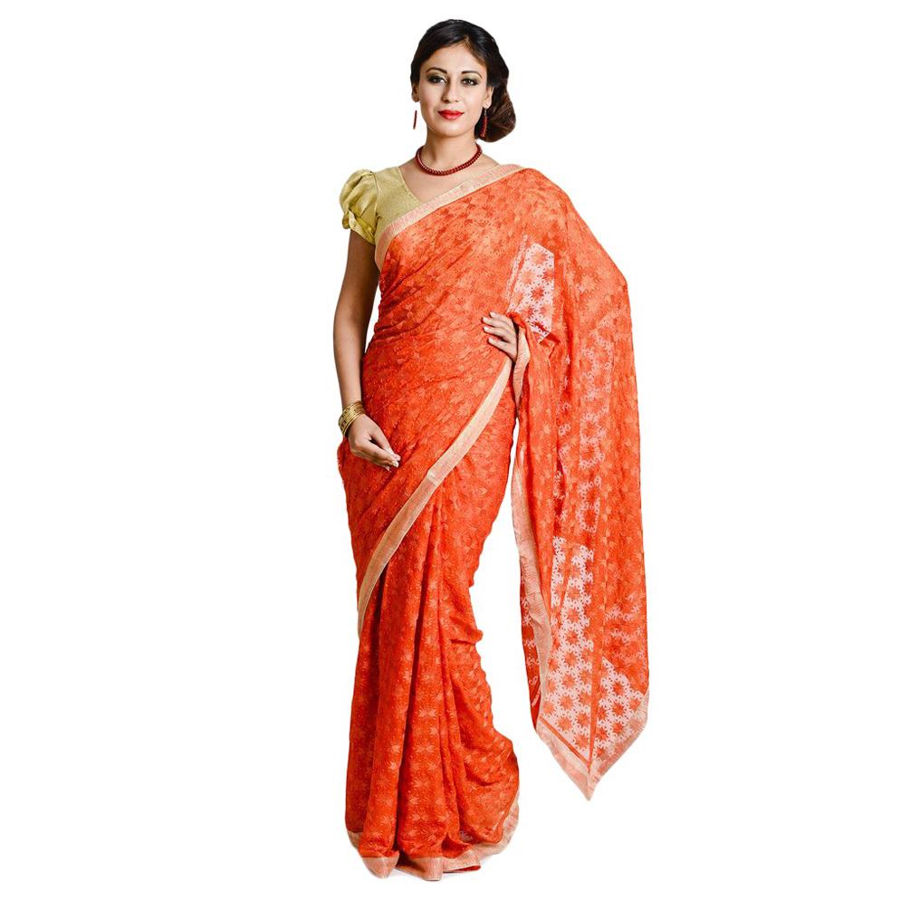 Orange Phulkari Saree S13 1