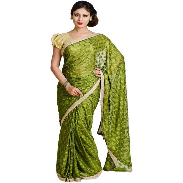 Mehendi Green Phulkari Saree S15