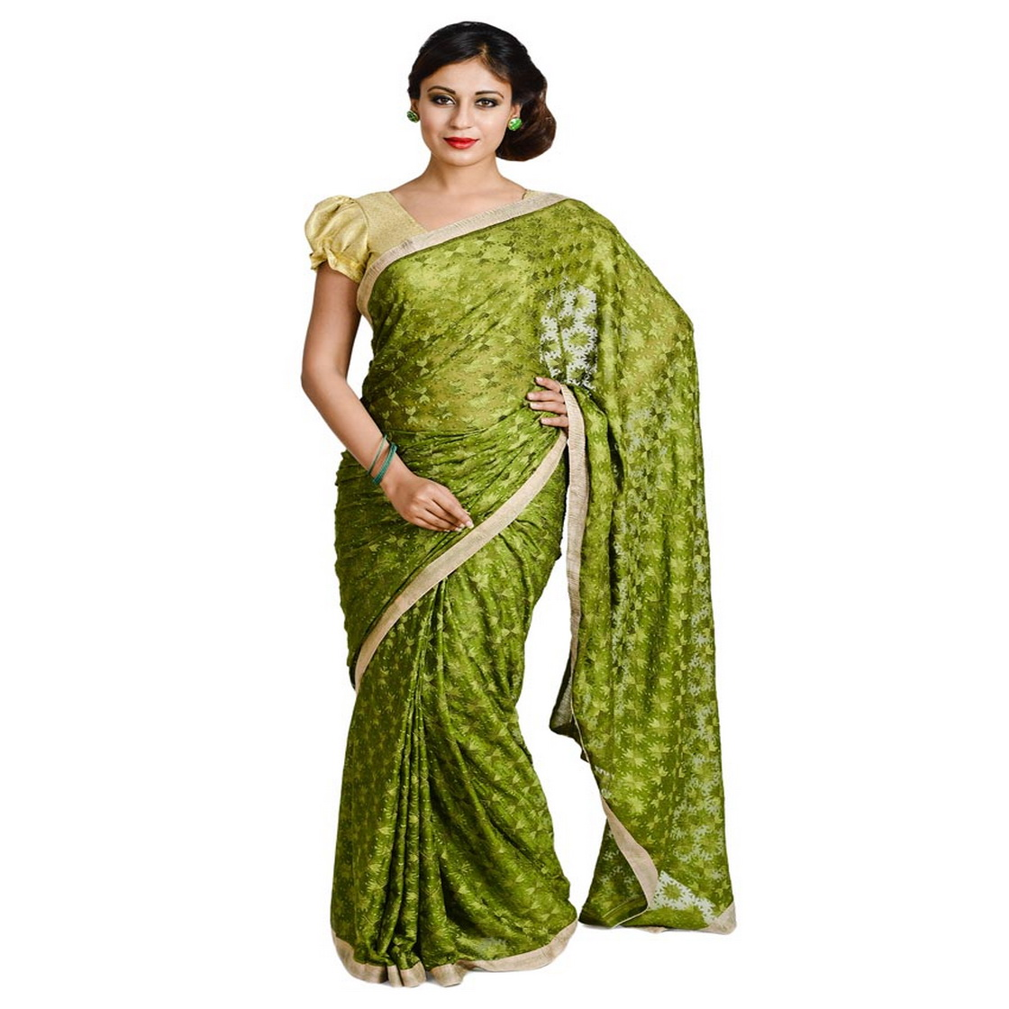 Mehendi Green Phulkari Saree Allover Embroidered Faux Chiffon Sari S15 1