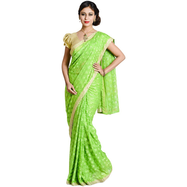 Parrot Green Phulkari Allover Self Embroidered party wear Faux Chiffon Saree S3
