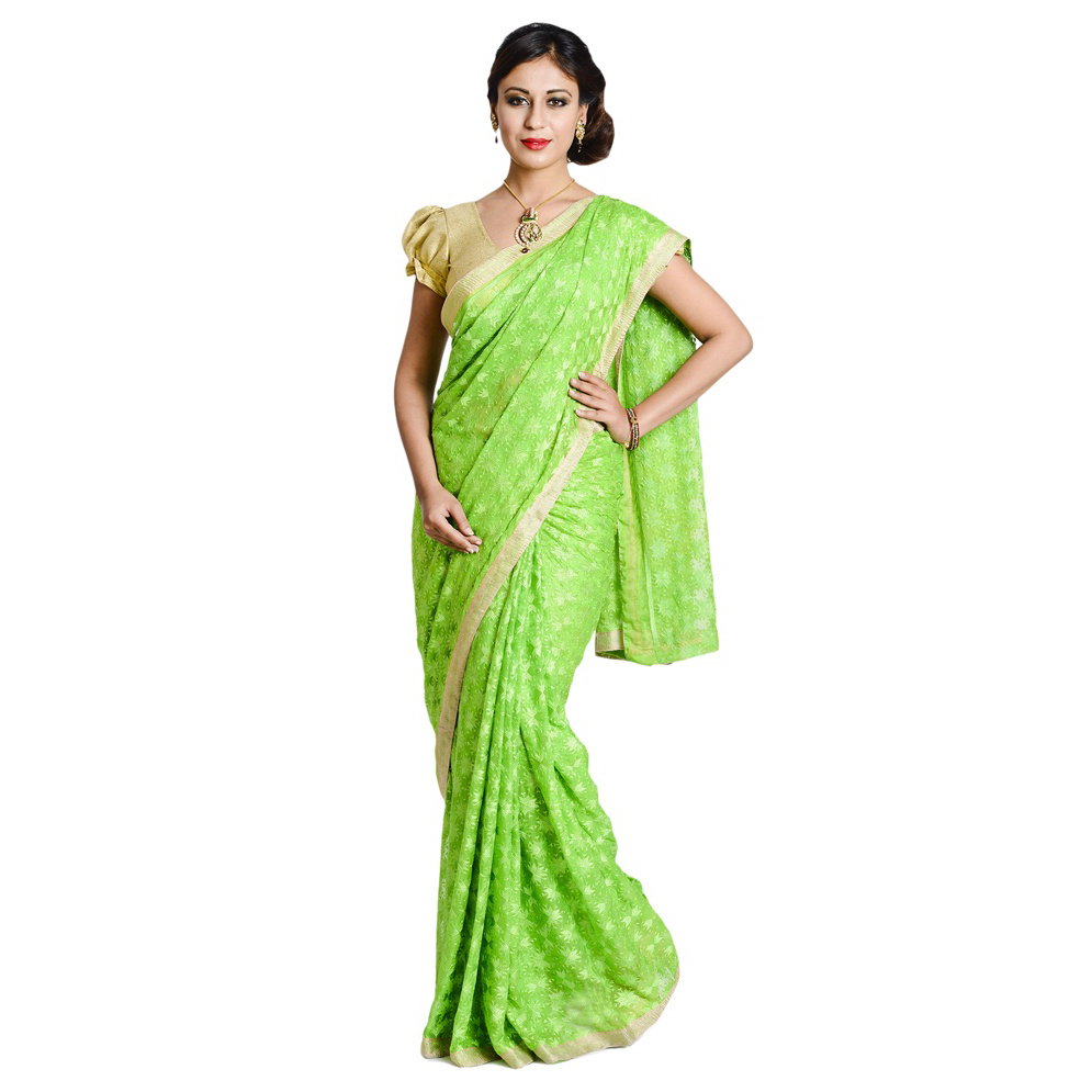 Parrot Green Phulkari Saree Embroidered Faux Chiffon Saari S3 1