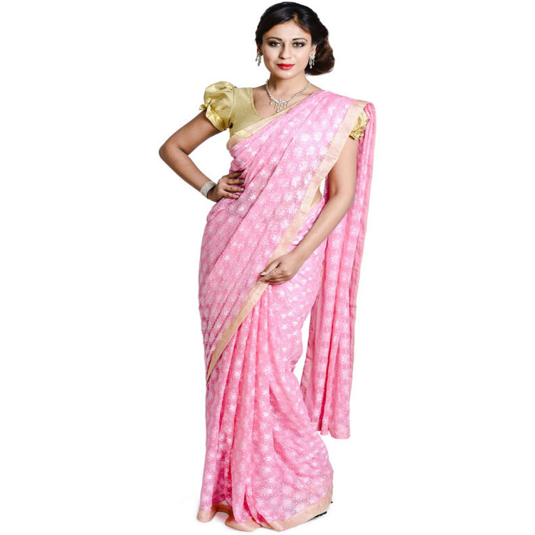 pink phulkari saree s5