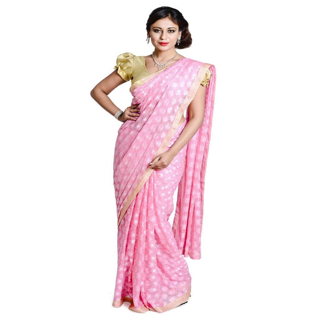 Pink Phulkari Saree Faux Chiffon Sari S5 1