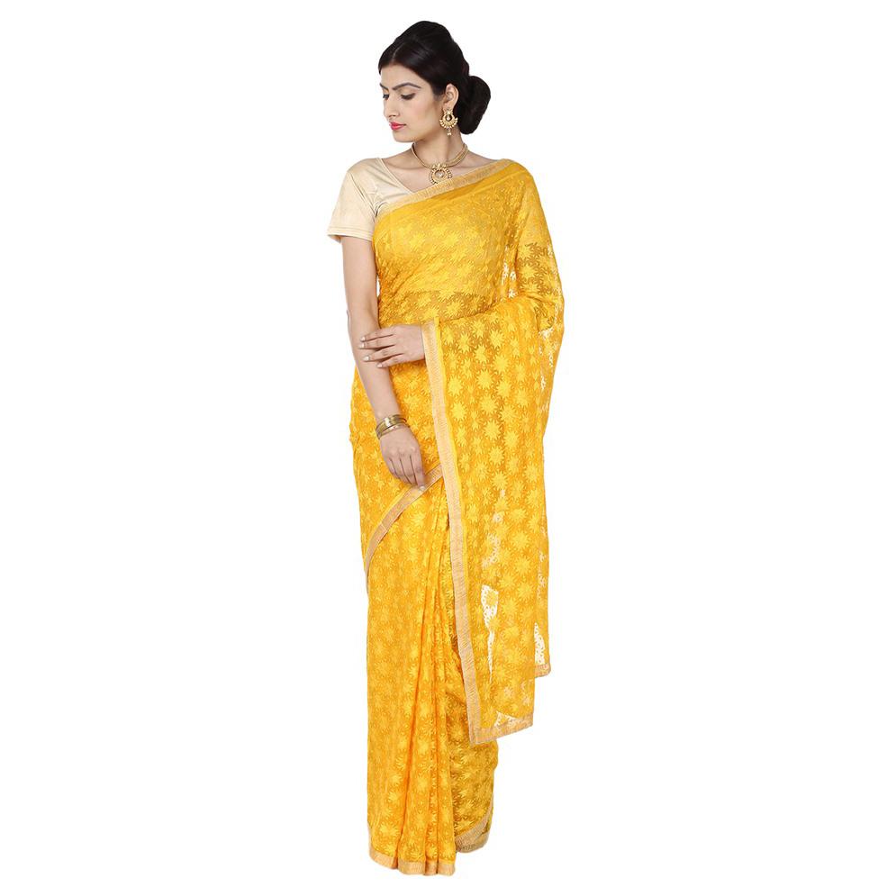 Yellow Phulkari Saree S6 1