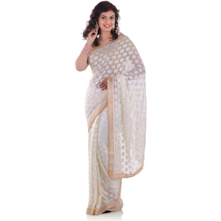 White Saree with Phulkari Embroidery s7