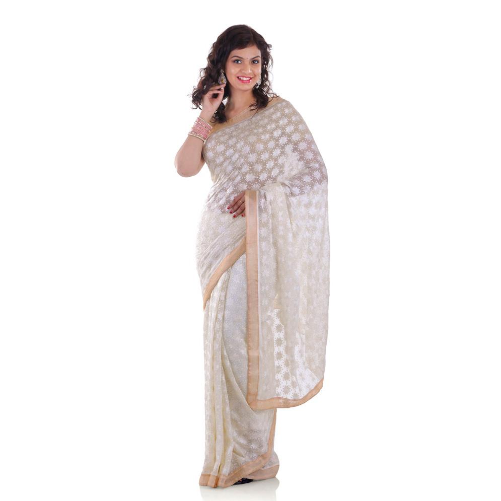 White Saree with Phulkari Embroidery Faux Chiffon Saari S7 1