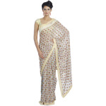 White Multi Phulkari Saree S8