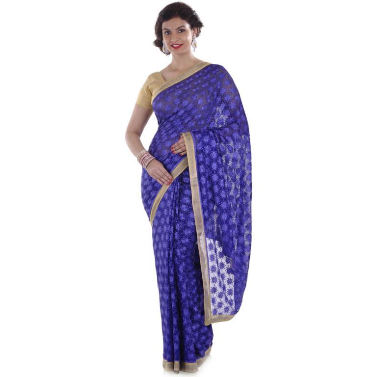 blue phulkari saree s9
