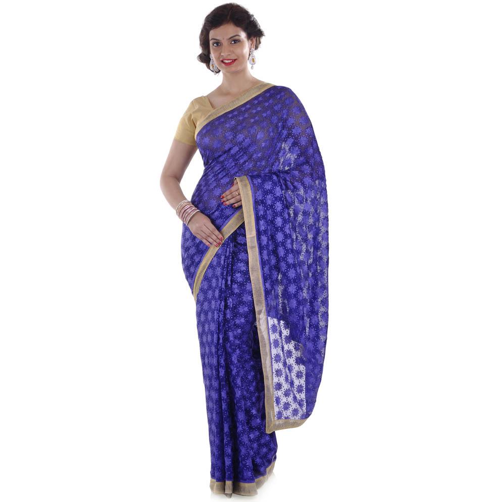 Blue Phulkari Saree S9 1