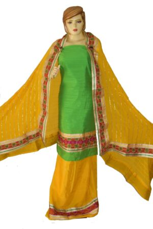 AVI Silk Hand Embroidered PHULKARI Salwar kameez suit CHINON DUPATTA F0680