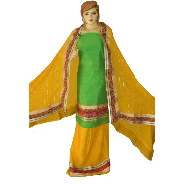 AVI Silk Hand Embroidered PHULKARI Salwar kameez suit CHINON DUPATTA F0680