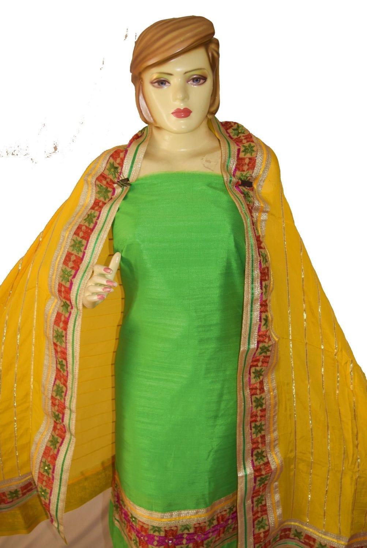 AVI Silk Hand Embroidered PHULKARI Salwar kameez suit CHINON DUPATTA F0680 2