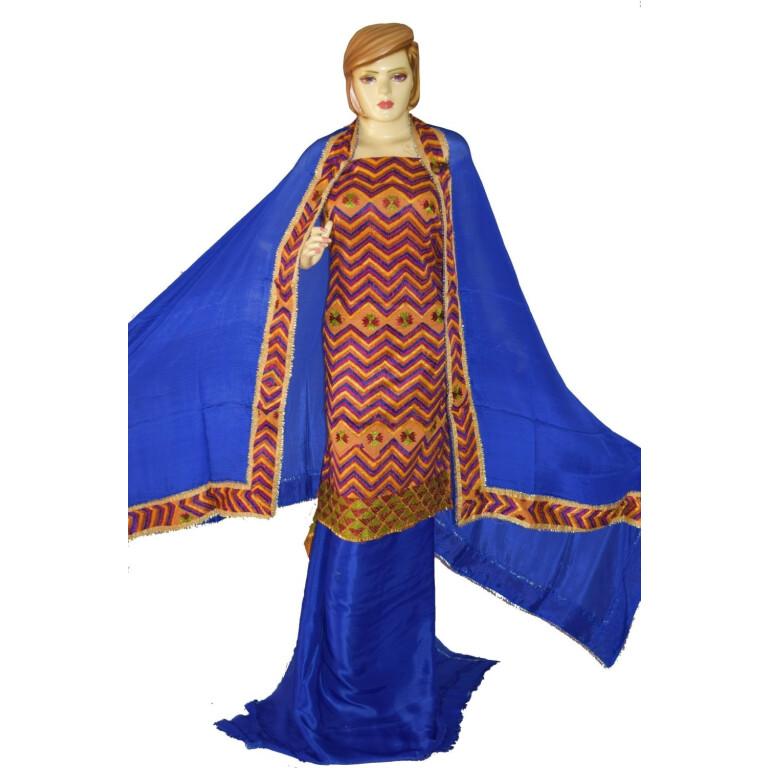 Hand Embroidered PHULKARI Salwar kameez suit CHINON DUPATTA F0684