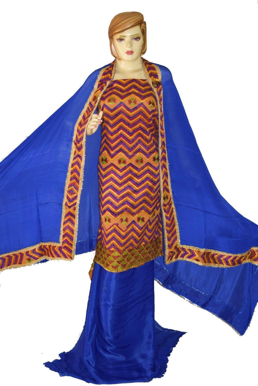Hand Embroidered PHULKARI Salwar kameez suit CHINON DUPATTA F0684 1