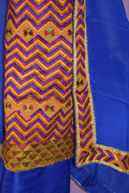 Hand Embroidered PHULKARI Salwar kameez suit CHINON DUPATTA F0684 2